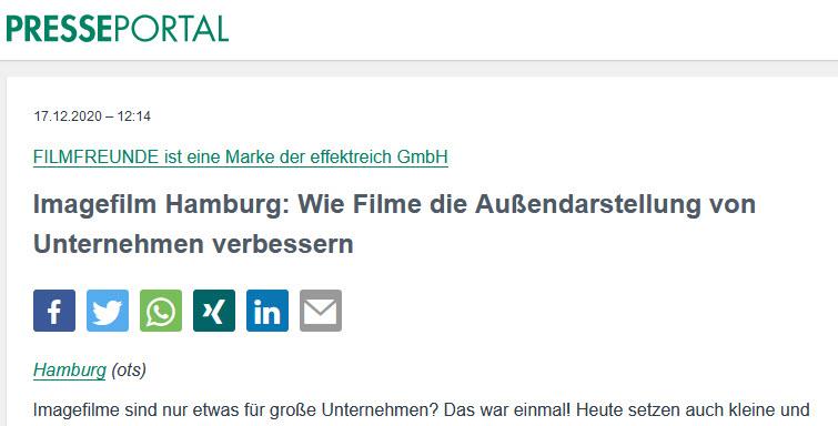 Imagefilm Hamburg: Wie Filme die Außendarstellung von Unternehmen verbessern